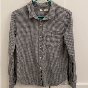 UGG Gray and White Flannel Button-Down- Small